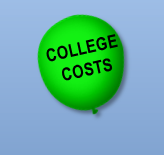 """Balloon Inscribed With """"College Costs"""" In The Sky"""