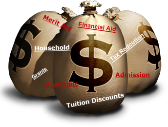 Three Bags of Money Text Admissions Financial Aid Tuition Discounts