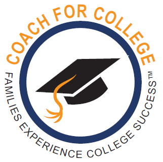 graduation hat inside blue circle coach for college text outside